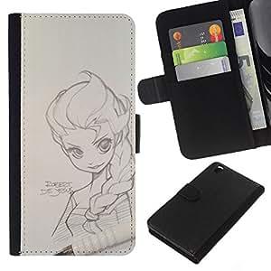 KLONGSHOP // Tirón de la caja Cartera de cuero con ranuras para tarjetas - Retrato a lápiz magna dibujo muchacha del arte - HTC DESIRE 816 //