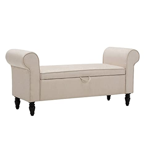 Haobo Storage Ottoman Bench with Arms Vanity Benches Upholstered Bed Bench  for Bedroom, Entryway and End of Bed (Beige)