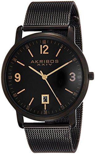 Akribos XXIV Men's AK858BK Round Black Dial Three Hand Quartz  Bracelet Watch