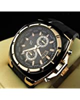 New mens black and gold v6 quartz watch with silicone band