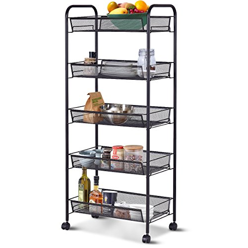 Giantex Storage Rack Trolley Cart Home Kitchen Organizer Utility Baskets (5 Tier, Black)