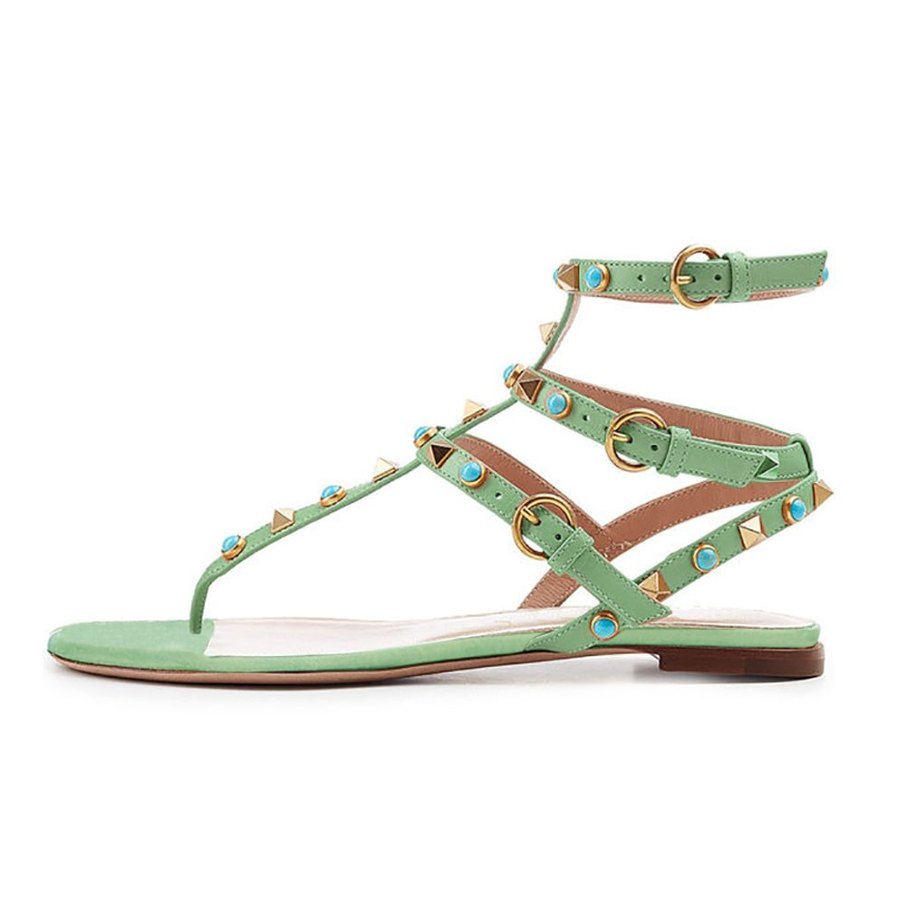 VOCOSI Women's Rivets Studded Flats Shoes T-Strap Strappy Flats Thong Sandals Shoes B07B7K4Y8P 11.5 B(M) US|Green(studs)
