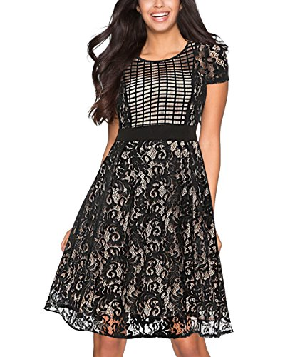 Tuliplazza Women Floral Lace Tunic Plaids Checks Formal Party Office Midi Dress