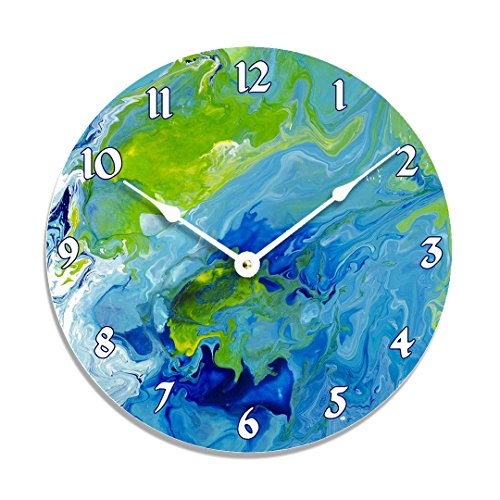 Contemporary abstract fluid acrylic design 10 inch wall clock. Full of blue, green, and white colors.