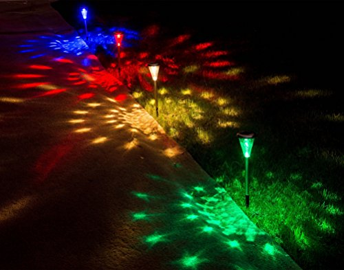 Solar Christmas Decorations Lights Outdoor Decorative Pathwhay Light Ornaments Cyber Monday Deals Sogrand 4 Color LED Glass Lens Stainless Steel Garden Path Landscape Lighting For Walkway Yard - Christmas Yard Decorations