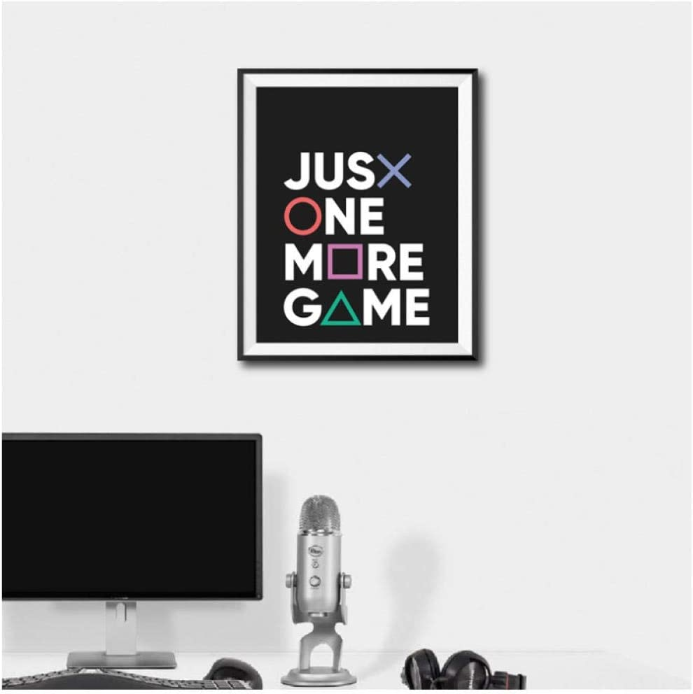 chaoaihekele Just One More Game Poster Prints Gamer Joystick Símbolos Gamepad Controller Boys Room Wall Art Canvas Painting Man Cave Decor 50x70cm (sin Marco): Amazon.es: Hogar