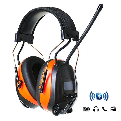 PROTEAR Bluetooth AM FM Radio Headphones, Noise Reduction Safety Ear Muffs with Rechargeable Lithium Battery - NRR 25dB Electronic Ear Hearing Protection Lawn Mower Work Headphones