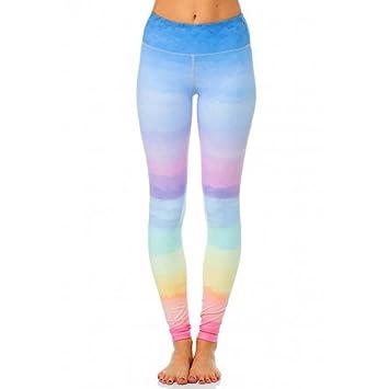 TYERY Mujeres Cambio Arcoiris Pantalones De Yoga Deportes Polainas Ropa De  Baile fe83e885a3d