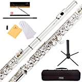Mendini Closed Hole C Flute with Stand, 1 Year Warranty, Case, Cleaning Rod, Cloth, Joint Grease, and Gloves (Silver Nickel)