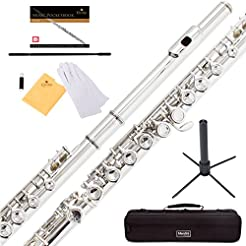 Mendini Closed Hole C Flute with Stand, ...