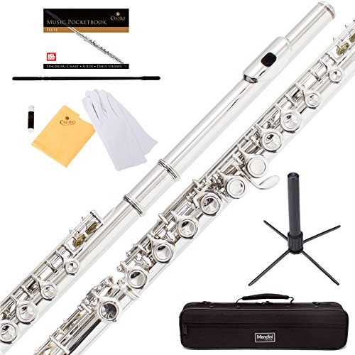 Mendini Closed Hole C Flute with Stand, 1 Year Warranty, Case, Cleaning Rod, Cloth, Joint Grease, and Gloves (Nickel Plated) by Mendini by Cecilio