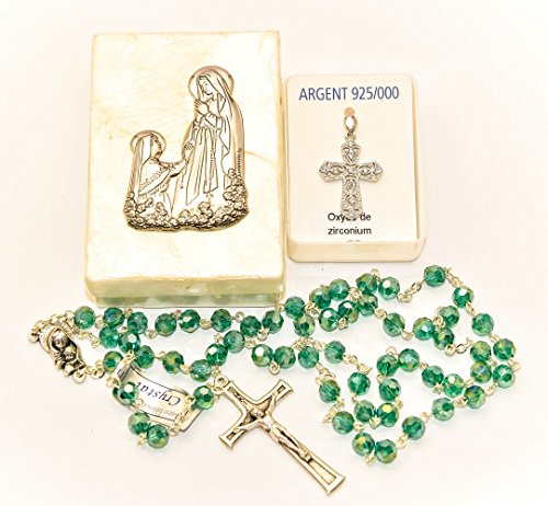 Mother of Pearl Lourdes Apparition Rosary Box, Sterling Silver Cross Pendant, Virgin Mary Rosary Beads & Lourdes Prayer Card - Catholic ()