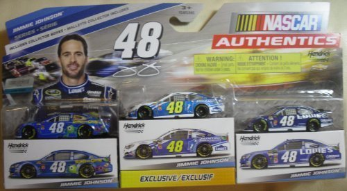 NASCAR Authentics Jimmie Johnson 3 Pack Edition Die-Cast Cars 1:64 Scale with Exclusive Car & Collector Boxes -