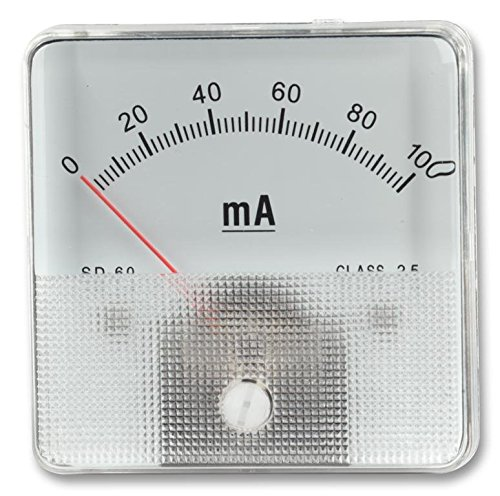 MULTICOMP SD60/0-1MA Analog Panel Meter, Moving Coil Type, Left Zero Hand, DC Current, 0mA to 1mA