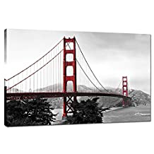 """Live Art - Modern Home Decoration Wall Art,San Francisco Golden Gate Bridge Picture Painting on Canvas Print Stretched Wood Frame,Red Bridge Ready to Hang -24""""x 36"""""""