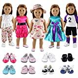 BARWA 5 Sets Clothes Dress Outfits with Accessories and 2 Pairs Shoes Compatible with American Girl Dolls 18 Inch Dolls