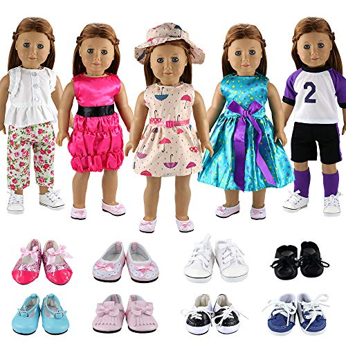 Shoes Doll Clothes - BARWA 5 Sets Clothes Dress Outfits with Accessories and 2 Pairs Shoes Compatible with 18 Inch Dolls