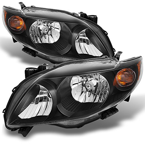 Toyota Corolla Xrs - For Toyota Corolla S | XRS Black Headlights Driver Left + Passenger Right Side Replacement Pair Set