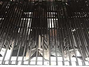 Brinkmann Juego de dos placas de calor y tres rejillas de cocina con revestimiento de porcelana ajustable (ancho total de 45,7 cm) para Uniflame, DynaGlo, Better Home y modelos de parrilla de jardín y patio trasero