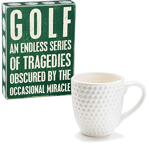 Ball Sign - Golf Gift Set for Men or Women - Novelty Golf Ball Mug and Funny Decorative Sign