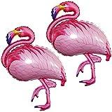 GOER 43 Inch Flamingos Foil Balloons,2 Pcs Giant Helium Balloons for Flamingos Theme Birthday Party Decorations