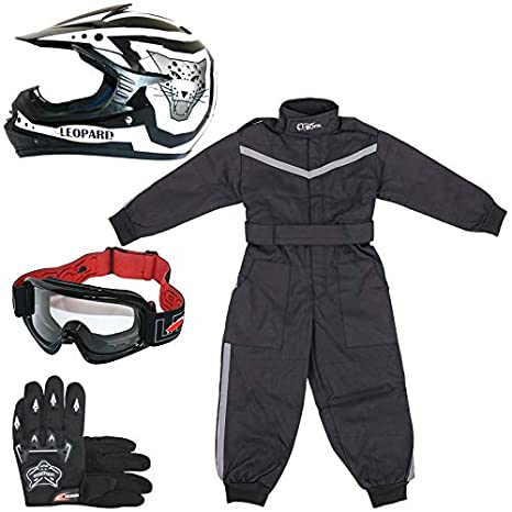 Leopard LEO-X17 Blue Kids Motocross Helmet XL(55cm) & Gloves XL(8cm) & Goggles + Children Kids Motorbike Race Suit XL(11-12Yrs) Touch Global Ltd