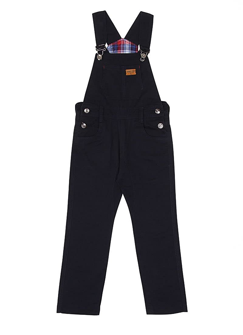 Genius Star Children's Dark Blue Dungarees Age 6-12 Boys Girls Slim Overalls Check Lining KID047BLUE