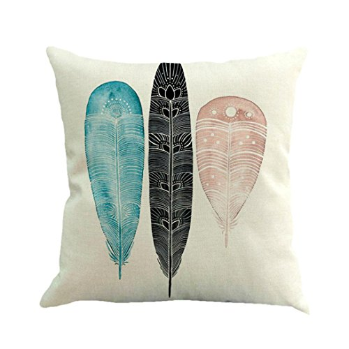 Soft Cushion Cover,Feather Painting Linen Cotton Throw Pillow Case Sofa Home Decor (D)