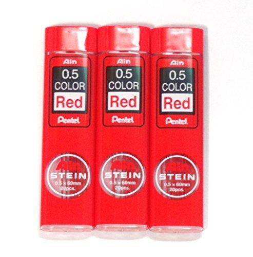 Pentel Ain Stein pencil Lead Rifll 0.5mm, RED, X 3 Pack/total 60 Leads (Japan Import) [Komainu-Dou Original Package]