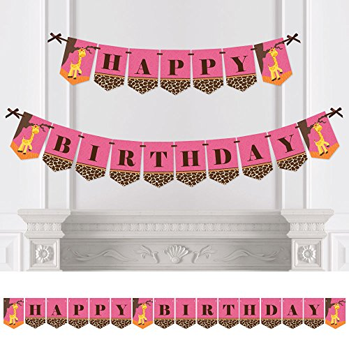 Big Dot of Happiness Giraffe Girl - Birthday Party Bunting Banner - Pink Party Decorations - Happy Birthday