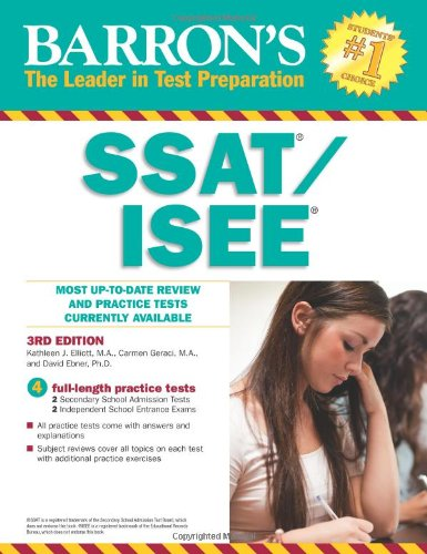 Barron's SSAT ISEE  High School Entrance Examinations