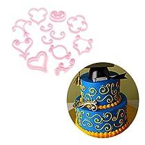 12PCS Plastic Rose Fondant Printing Mold Decorative Pattern Cake Mould Decorating Tool