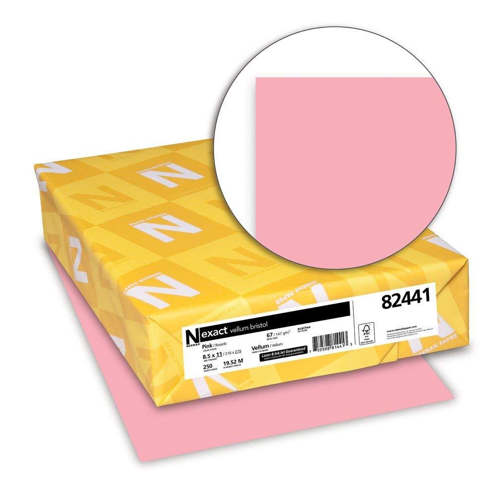 Renewed 8.5 x 11 Inches 82441 67 lb Pastel Pink Wausau Vellum Bristol Cardstock 250 Sheets
