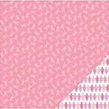 American Crafts Printed Double-Sided Cardstock 12''X12''-Breast Cancer Awareness Ribbon/Pink