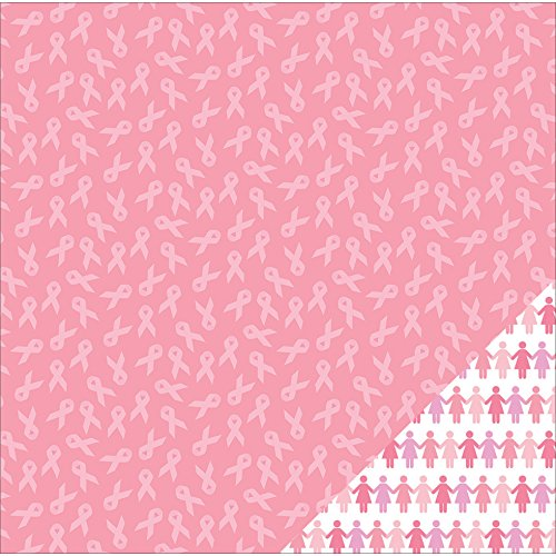 American Crafts Printed Double-Sided Cardstock 12''X12''-Breast Cancer Awareness Ribbon/Pink by American Crafts
