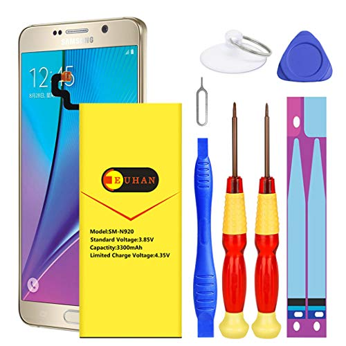 Galaxy Note 5 Battery, Euhan 3200mAh Internal Li-ion Polymer Replacement Battery for Samsung Galaxy Note 5 SM-N920 N920T N920A N920P N920V EB-BN920ABE with Repair Kit Tools[24 Month -