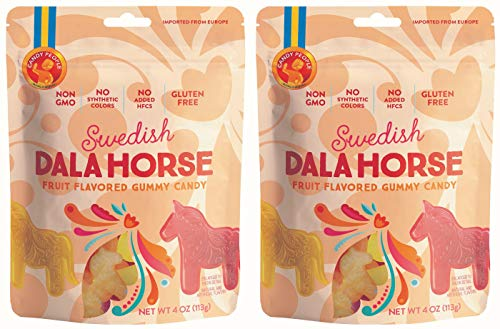 Candy People Swedish Dala Horse Fruit Flavored Gummy Candy - Citrus, Pineapple, Raspberry Fruit Flavors - Gluten and Gelatin Free - 2-Pack (Dala Horse Painted)