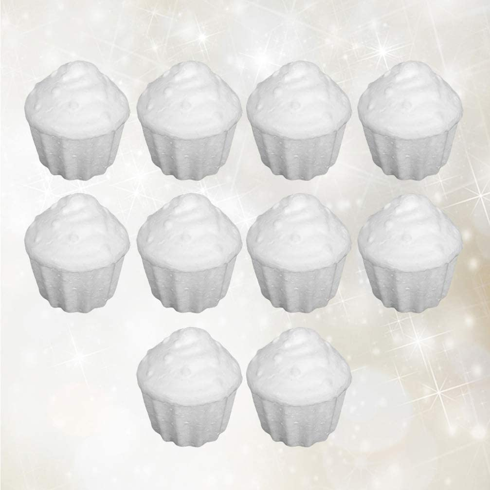 Amosfun 10pcs Styrofoam foam balls cupcake shapes Ornaments DIY Craft Foam Shapes Decorations 7.5cm