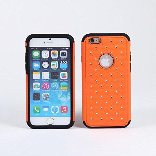 iPhone 6 Cas,Lantier spot sertie de diamants Bling Crystal strass 2 en 1 double couche de couverture hybride [Thin Slim] [Scarcthproof] peau Silicone Rubber Hard Case Pour Apple iPhone 6S / 6 Orange