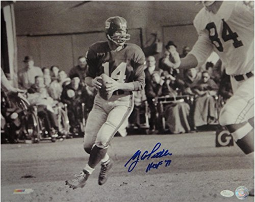 (YA Tittle Y.A. Hand Signed Autographed 16x20 Photo HOF Looking to Pass JSA/DNA)