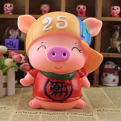 Kawaii Cute Pig Piggy Bank Resin Personalized Baby Nursery Decor Home Furnishing decoration Trendsetter by GH8
