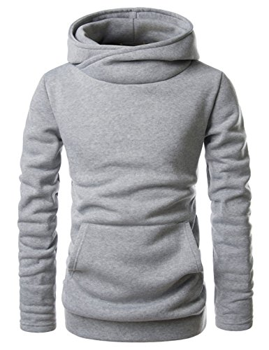 Showblanc (SBNKH510) Mens Stylish Pullover Funnel Collar Fleece Lined Hooded Sweatshirt GRAY US XXXL(Tag size 3XL) (Hoodie Mens Silhouette)
