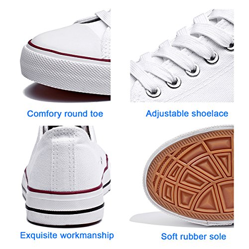 Womens Canvas Sneakers Low Cut Lace Ups Casual Walking Shoes(White,US10) by FRACORA (Image #3)