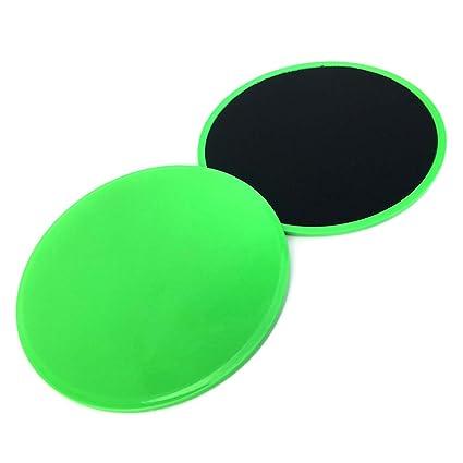 5585fb972 Asosmos 2 Pcs Core Gliding Discs Slider Fitness Disc Exercise Sliding Plate  for Yoga Gym Abdominal Training (Green)  Amazon.in  Sports