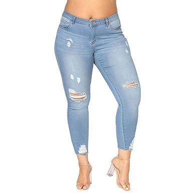 be0c89ac688b8 GreatestPAK Pantalon Taille Haute Slim Ripped Denim Skinny Jeans Taille  Haute Pantalon Femme