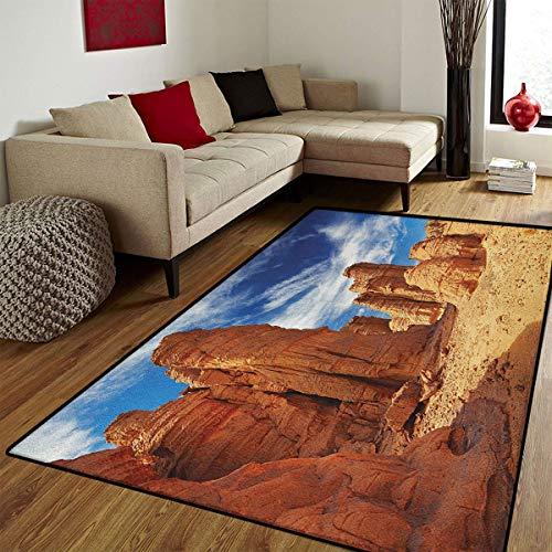 Sahara Small Rug - Desert,Door Mat Small Rug,Bizarre Sandstone Cliffs in Sahara Desert Tassili NAjjer Algeria,Bath Mat 3D Digital Printing Mat,Navy Blue Mustard Orange,3x5 ft