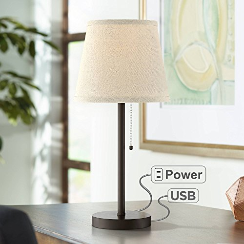Flesner Modern Desk Table Lamp with Hotel Style USB and AC Power Outlet in Base Bronze Metal Oatmeal Drum Shade for Bedroom Office - 360 Lighting