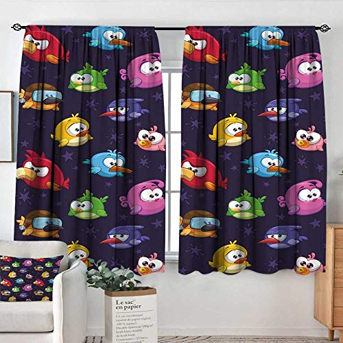 Decor Room Darkening Wide Curtains Funny,Angry Flying Birds Figure with Various Expressions Game Toy Kids Babyish Artsy Image,Multicolor,Insulating Room Darkening Blackout Drapes 52