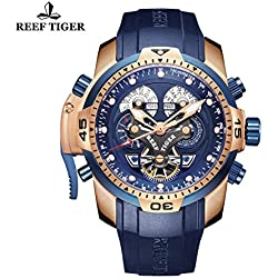 Reef Tiger Mens Watch Complicated Blue Dial Black Rubber Rose Gold Automatic Watch RGA3503