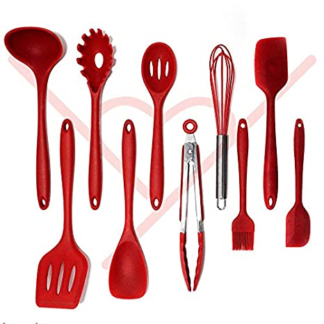 Kitchen Utensil Set – 10 Piece Silicone Cooking Tools, BPA Free, Nonstick  Heat Resistant – Kitchen tools and gadgets for Gift by H2You (Red)